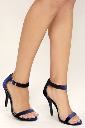 Time to Party Navy Velvet Ankle Strap Heels $28 thestylecure.com