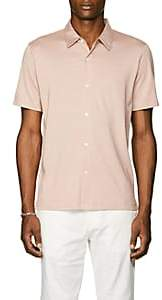 Theory Men's Silk-Cotton Short-Sleeve Shirt-Lt. Red