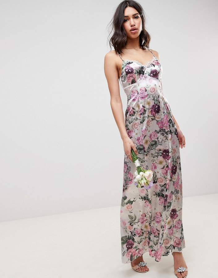 DESIGN Bridesmaid cami maxi dress with lace insert in pretty floral print