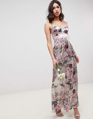 Asos DESIGN cami maxi dress with lace insert in pretty floral print