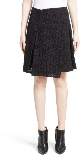 Women's Burberry Howe Mixed Lace Pleated Wrap Skirt
