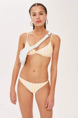 Topshop Striped Twist Ribbed Bikini Cropped Top
