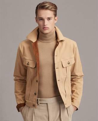 Ralph Lauren Slim Suede-Trim Denim Jacket