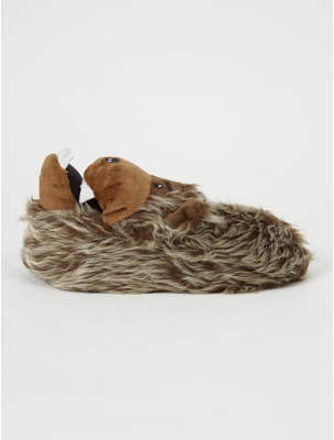 George Brown Faux Fur Bear Slipper Boots