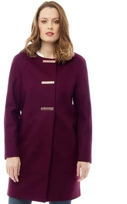 Ted Baker Womens Eleen Metal Bar Popper Cocoon Coat Purple