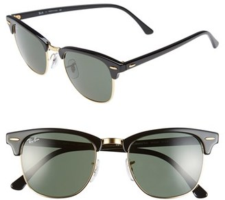 Women's Ray-Ban Standard Clubmaster 51Mm Sunglasses - Black $150 thestylecure.com