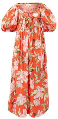 Mara Hoffman Violet Puff Sleeve Floral Print Cotton Dress - Womens - Red Multi