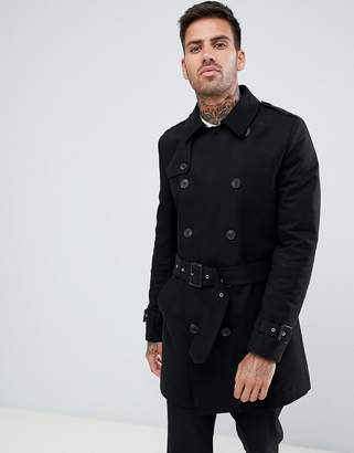 Asos Design DESIGN shower resistant double breasted trench in black