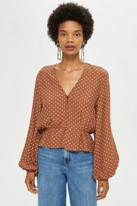Topshop Polka Spot Button Blouse