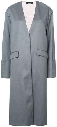 Undercover mid-length collarless reversible coat
