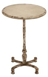 BEIGE DecMode Decmode Farmhouse 26 Inch Distressed Round Metal and Wood Accent Table,