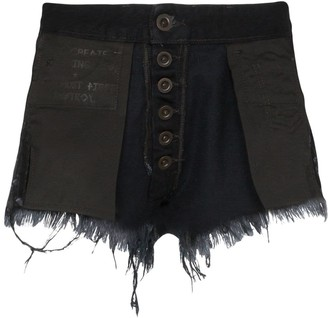 Unravel Project Reverse distressed denim shorts