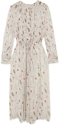Etoile Isabel Marant Baphir Pleated Printed Silk-crepon Dress - Ecru