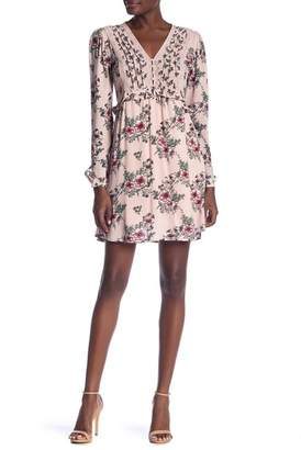 Taylor & Sage Long Sleeve Floral Print Ruffle Trim Dress