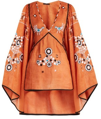 Vita Kin - Country Bird And Floral Embroidered Linen Top - Womens - Orange