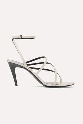 Saint Laurent Paris Minimalist Patent-leather Sandals - Ivory