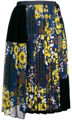 Sacai floral panel pleated skirt
