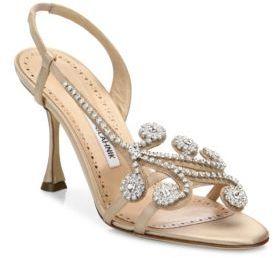 Manolo Blahnik Fernusan 90 Crystal-Embellished Slingbacks $995 thestylecure.com