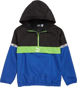 9395fe463ba5 Puma Logo Tape Half Zip Hooded Windbreaker Jacket