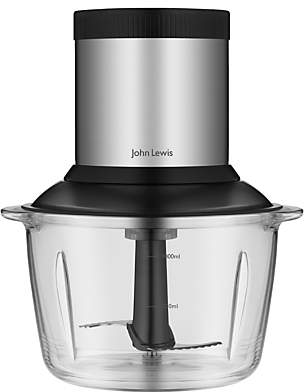 John Lewis Mini Chopper, Black/Stainless Steel