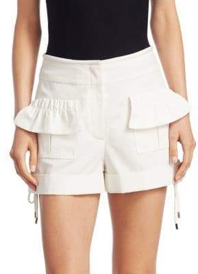 Carven High-Rise Poplin Ruffle Shorts