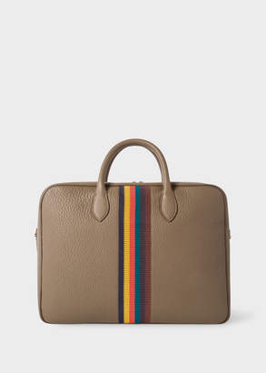 Paul Smith Men's Taupe 'Bright Stripe' Leather Business Folio