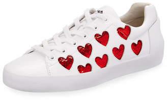Ash Nikita Sequin Heart Sneakers, White/Red