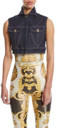Versace Cropped Denim Vest