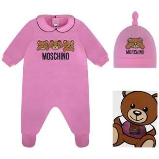 Moschino MoschinoGirls Pink Teddy Babygrow Gift Set (2 Piece)