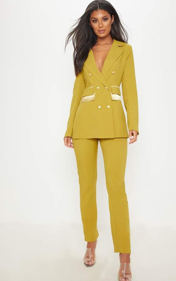 Pale Olive Woven Suit Trousers