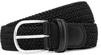 Andersons Anderson's - 3.5cm Black Leather-Trimmed Woven Elastic Belt