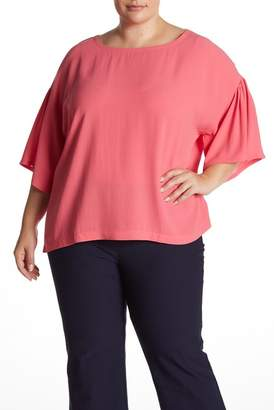 Eileen Fisher Ballet Silk 3\u002F4 Sleeve Blouse (Plus Size)