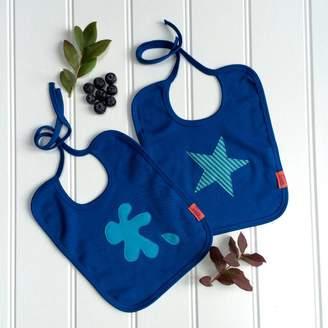 Isabee Splat And Star Blueberry Bib Set