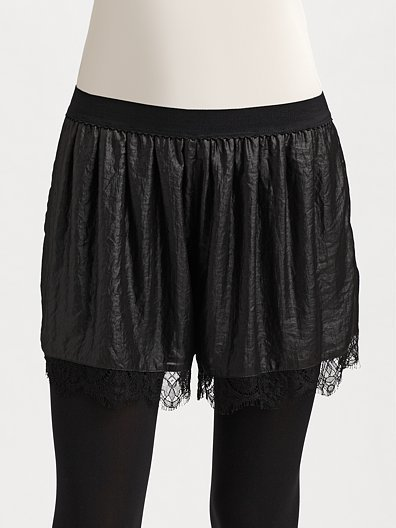 BCBGMAXAZRIA Lace-Trimmed Sateen Shorts
