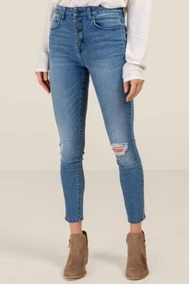 francesca's Harper Heritage High Rise Exposed Button Jeans - Medium Wash