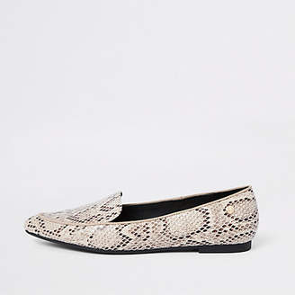 River Island Beige snake embossed pointed toe loafers