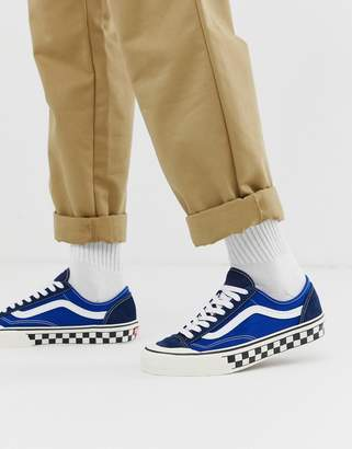 Vans Style 36 trainers with checkerboard sole in blue