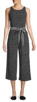 Gabby Skye Polka Dot-Print Wide-Leg Jumpsuit