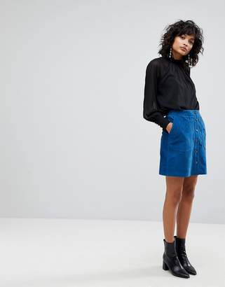 Y.A.S Suede Mini Skirt With Button Front