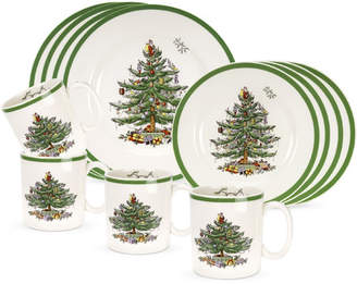 Spode Christmas Tree 12 Piece Dinnerware Set, Service for 4