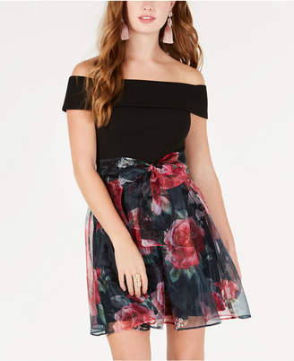 B. Darlin Junior's Off-The-Shoulder Chiffon-Skirt Dress