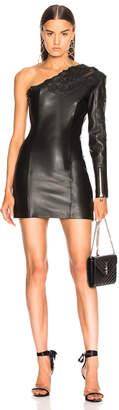 Balmain Leather One Shoulder Mini Dress