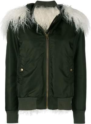 Mr & Mrs Italy lamb fur trim bomber jacket