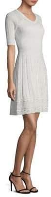 M Missoni Ribbed V-Neck Little White Dress
