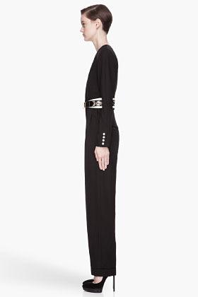 Balmain Black structured pleated full-body Jumpsuit
