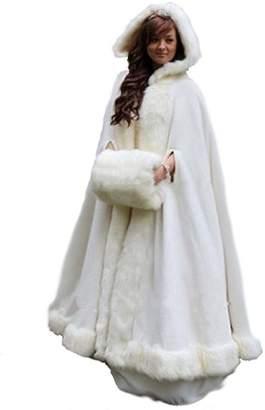 kelaixiang Long Women's Faux Fur Cloak Cape Hand Muff for Winter Wedding