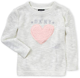 DKNY Toddler Girls) Fuzzy Heart Lurex Sweater
