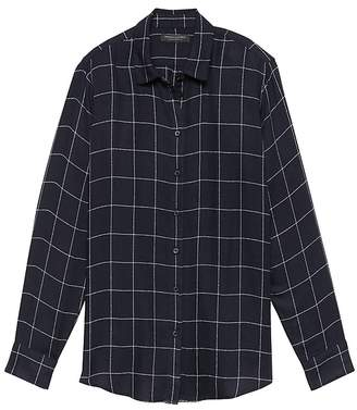 Banana Republic Petite Dillon Classic-Fit Windowpane Plaid Flannel Shirt