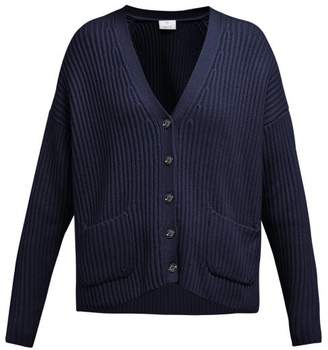 Allude Ribbed Cashmere Cardigan - Womens - Navy