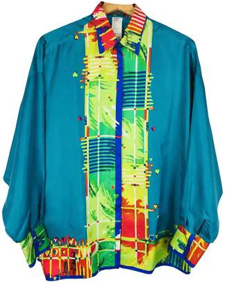 Gianni Versace Turquoise Silk Top for Women Vintage